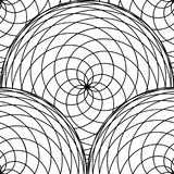 Seamless pattern from circles of intertwined fine lines. Monochrome simple background. Stock Photos
