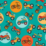 Seamless pattern with circles and motorcycles. Royalty Free Stock Image