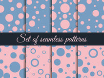 Seamless pattern with circles. Pattern with circles and dots. Rose quartz and serenity. Royalty Free Stock Photo