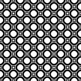 Seamless pattern with circles and rounded squares. Vector monochrome repeat texture, black and white geometric seamless pattern with circles and rounded squares Stock Image