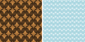 Seamless pattern with circles. Set of two seamless blue and brown pattern with circles Royalty Free Stock Photos