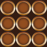 Seamless pattern circles. Seamless steampunk style circles pattern on a brown background stock illustration