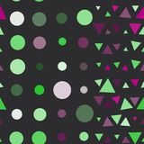 Seamless pattern of circles and triangles, pink Royalty Free Stock Images