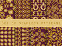 Seamless pattern with circles and weaves. Set of ethnic patterns. Stock Images