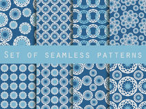 Seamless pattern with circles and weaves. Set of ethnic patterns. Royalty Free Stock Images