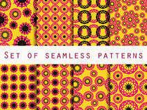 Seamless pattern with circles and weaves. Set of ethnic patterns. Stock Photography