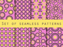 Seamless pattern with circles and weaves. Set of ethnic patterns. Royalty Free Stock Photo