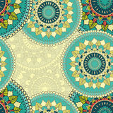 Seamless pattern with circular floral ornament Stock Photos