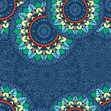 Seamless pattern with circular floral ornament Royalty Free Stock Photography
