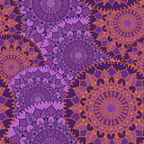 Seamless pattern with circular floral ornaments Stock Photo