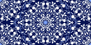 Seamless pattern of circular ornaments. Dark blue background in the style of Chinese painting on porcelain. Royalty Free Stock Images
