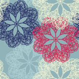 Seamless pattern with circular ornaments like a snowflakes Stock Images