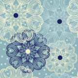 Seamless pattern with circular ornaments like a snowflakes Royalty Free Stock Photo