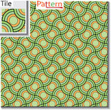 Seamless pattern of circular rings or disks which are overlapped Royalty Free Stock Image