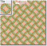 Seamless pattern of circular rings or disks which are overlapped Stock Photos