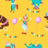 Seamless pattern. Circus animals, circus artists. Bright pattern stock illustration