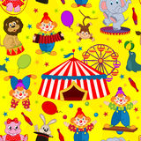 Seamless pattern circus with clown and animals Royalty Free Stock Photo
