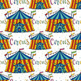 Seamless pattern circus tent. Hand drawn vector background. Carnival decoration.  Royalty Free Stock Photos