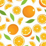 Seamless pattern of citrus fruit - orange with leaves, whole products and slices on white background. Royalty Free Stock Photos