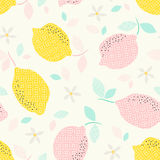 Seamless pattern with citrus fruits and blooms. Vector illustration Royalty Free Stock Photos