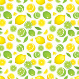 Seamless pattern of citrus fruits - lemon and lime with leaves, whole products and slices on white background. Royalty Free Stock Image