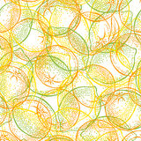 Seamless pattern with citrus fruits: lemons, limes and oranges Vector Illustration