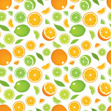 Seamless pattern of citrus fruits - orange and lime with leaves, whole products and slices on white background. Stock Photography