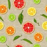 Seamless pattern with citrus fruits slices. Mix of lemon lime grapefruit and orange.  stock illustration