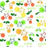 Seamless pattern with citrus fruits slices stock illustration