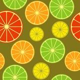 Seamless pattern with citrus mix. Mixed citrus slices seamless background. Orange, grapefruit, lemon, lime. Vector illustration Royalty Free Stock Photo