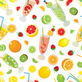 Seamless pattern with citrus products - orange, lemon, lime, grapefruit, fruits - strawberry, kiwi and with Mojito cocktails. Stock Images