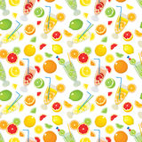 Seamless pattern with citrus products - orange, lemon, lime, grapefruit and with Mojito cocktails. Royalty Free Stock Photo