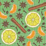 Seamless Pattern. Citrus, Spices and Coffee Beans Stock Photography