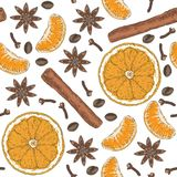 Seamless Pattern. Citrus, Spices and Coffee Beans Stock Image