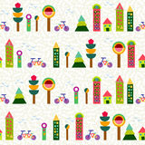Seamless pattern city background geometry colorful. Seamless pattern background, city and environment elements made with multicolor geometry shapes. EPS10 vector Stock Photos