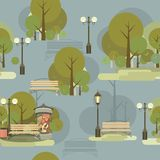 Seamless pattern of city park Royalty Free Stock Photography