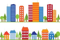 Seamless pattern of city, town or village Stock Images