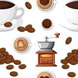 Seamless pattern of classic coffee grinder with a bunch of coffee beans manual coffee mill and a cup of coffee cup vector illustra. Tion isolated on white Royalty Free Stock Images