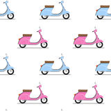 Seamless pattern of the classic pink and blue moped. Royalty Free Stock Photos