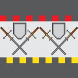 Seamless pattern with classic pixel swords and shields. With a bright edging. Cartoon steel blades for as backdrop for fun computer and console games Stock Images