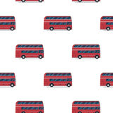 Seamless pattern of the classic red double-decker London bus. Stock Photos