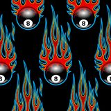 Seamless pattern with classic tribal hotrod muscle car flames an. D billiards 8 ball on black background. Can be used as wallpaper, wrapping, packaging and any Vector Illustration