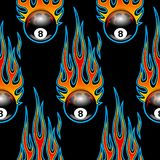 Seamless pattern with classic tribal hotrod. Muscle car flames and billiards 8 ball isolated on black background. Can be used as wallpaper, wrapping, packaging Stock Illustration