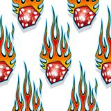 Seamless pattern with classic tribal hotrod muscle car flames and dice graphic isolated on white background. Royalty Free Stock Photos