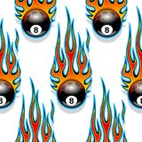 Seamless pattern with classic tribal hotrod muscle car flames an Stock Photography