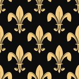 Seamless pattern of classical golden fleur de lys Stock Photography