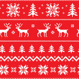 Seamless pattern with classical sweater design. Seamless pattern with winter sweater design - deer, snowflake and christmas tree Stock Images