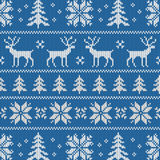 Seamless pattern with classical sweater design. Seamless pattern with winter sweater design - deer, snowflake and christmas tree Stock Photography