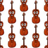 Seamless pattern of classical violins. Seamless pattern of wooden classical violins with happy smiling faces with a repeat motif in square format for any musical Royalty Free Stock Image