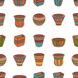 Seamless pattern with clay flower pots. Stock Photography